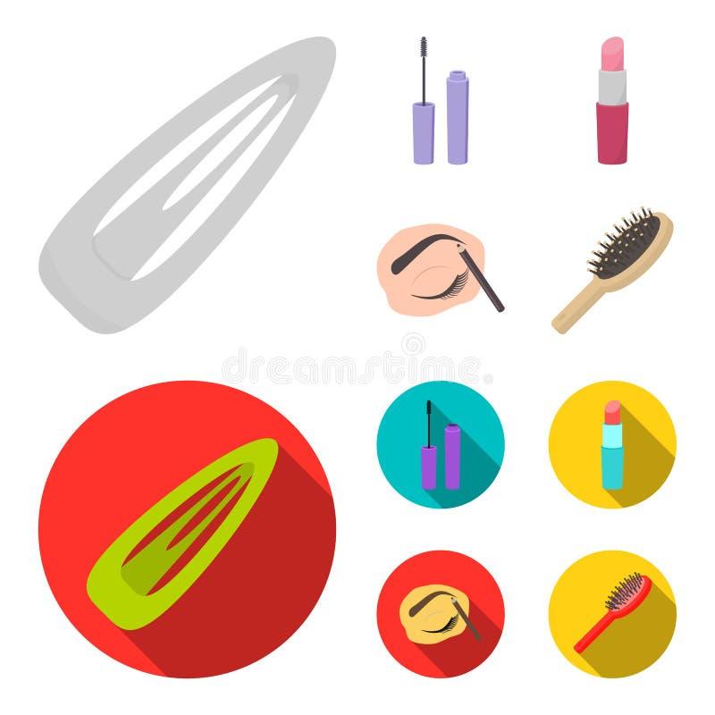 Mascara hårborste, läppstift, ögonbrynblyertspenna, fastställda samlingssymboler för makeup i tecknade filmen, materiel för symbo royaltyfri illustrationer