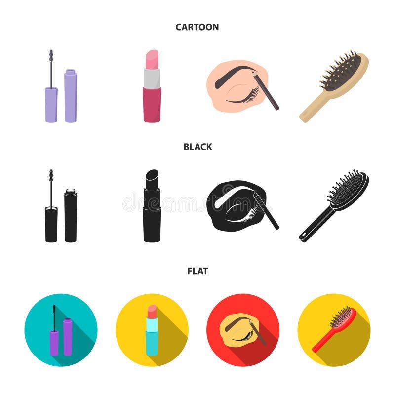Mascara hårborste, läppstift, ögonbrynblyertspenna, fastställda samlingssymboler för makeup i tecknade filmen, svart, materiel fö royaltyfri illustrationer