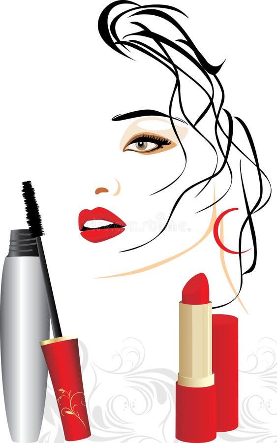 Mascara, rode lippenstift en vrouwelijk portret stock illustratie