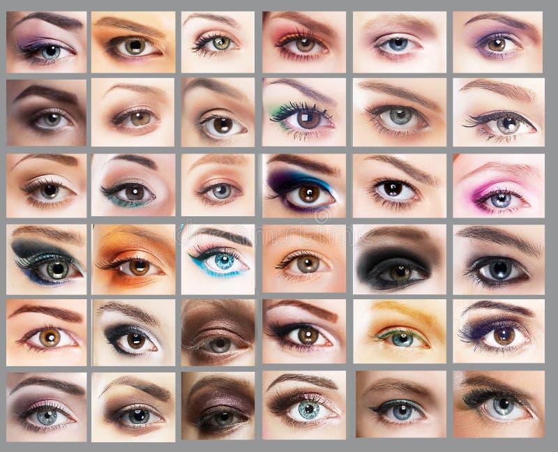 mascara Stor variation av kvinnors ögon Uppsättning av ögat arkivbilder