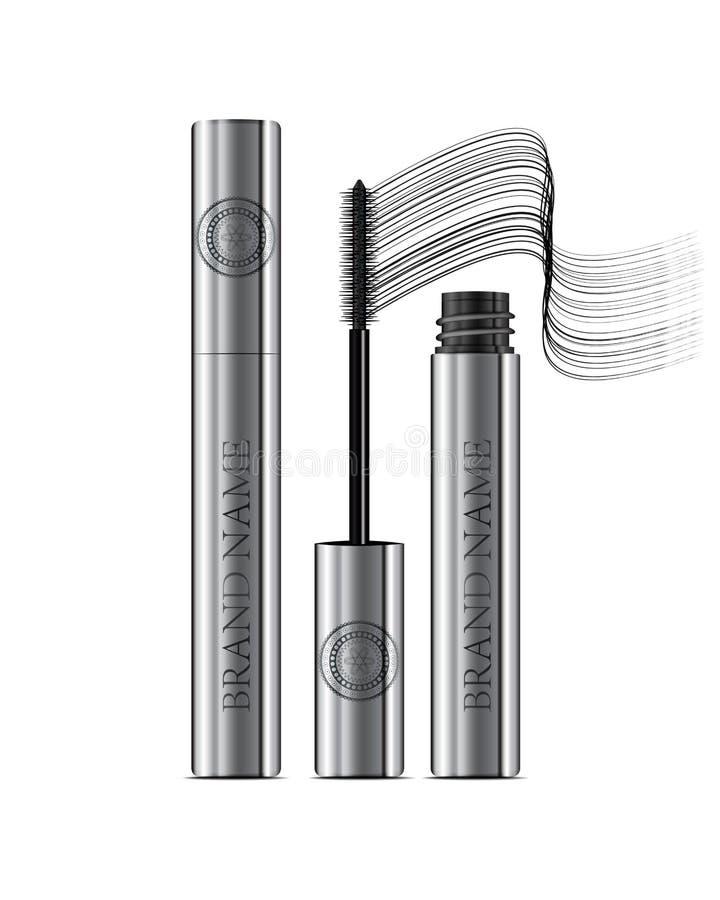 A mascara tube and a wand applicator. Cosmetic silver bottle wit. H eyelash brush. Isolated on white background. Grunge swatch, black wavy brush stroke hand stock illustration