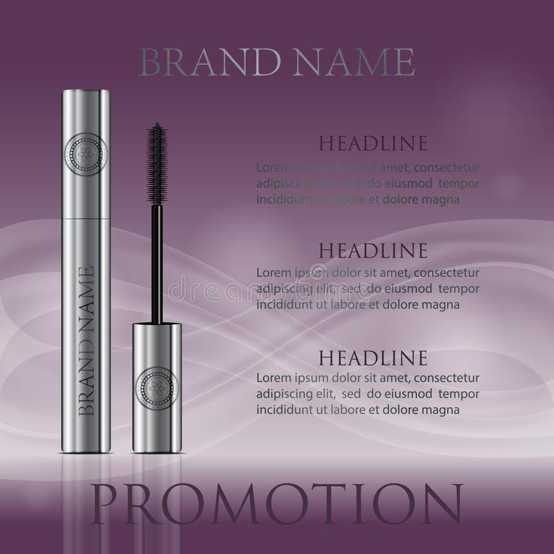 A mascara tube and a wand applicator. Cosmetic silver bottle wit. H eyelash brush. Purple wavy background. Good for booklets, brochures, leaflets or banner. 3d stock illustration