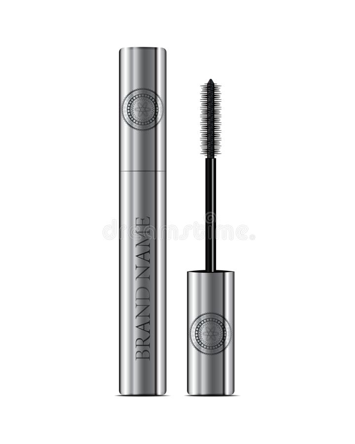A mascara tube and a wand applicator. Cosmetic silver bottle wit. H eyelash brush. Isolated on white background. Good for booklets, brochures, leaflets or banner vector illustration