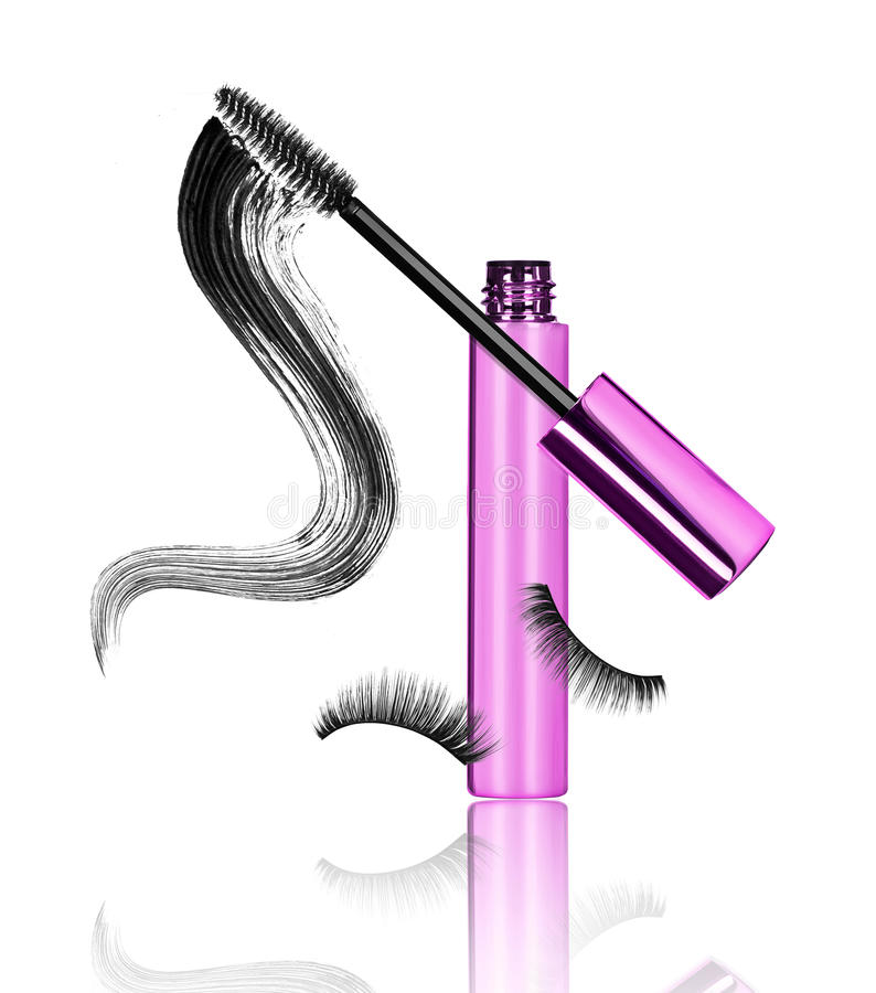 Mascara, wand applicator with black stroke and false eyelashes stock photography