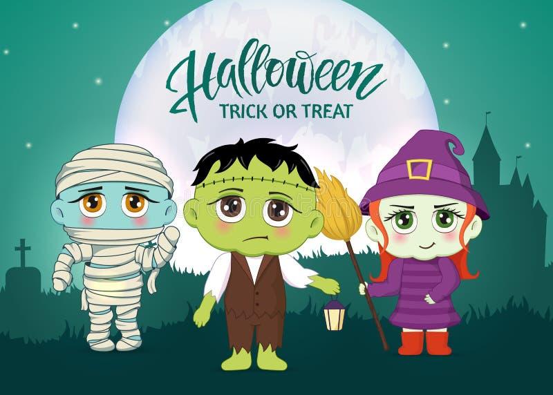 Mascarade de Halloween, costumes mignons d'enfants Caractères drôles Carte d'invitation pour la partie et la vente Vacances d'aut illustration libre de droits