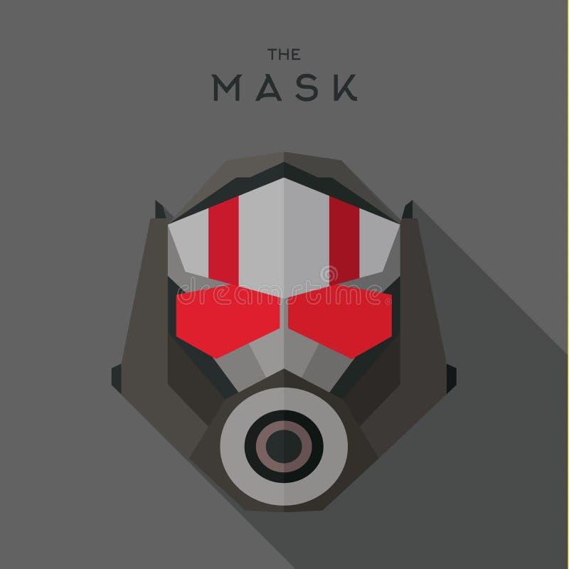 Mascare o vetor liso do ícone do estilo do super-herói do bandido do herói ilustração stock