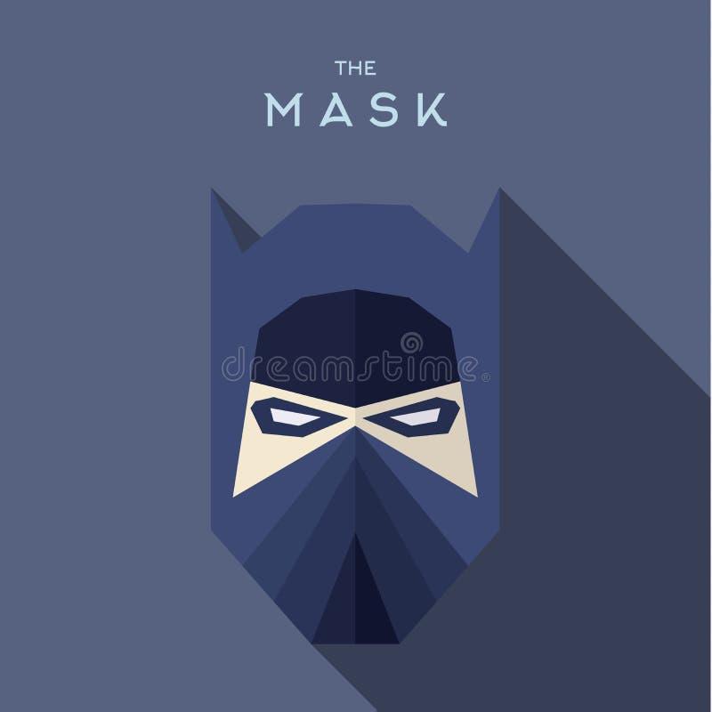 Mascare o vetor liso do ícone do estilo do super-herói do bandido do herói ilustração royalty free