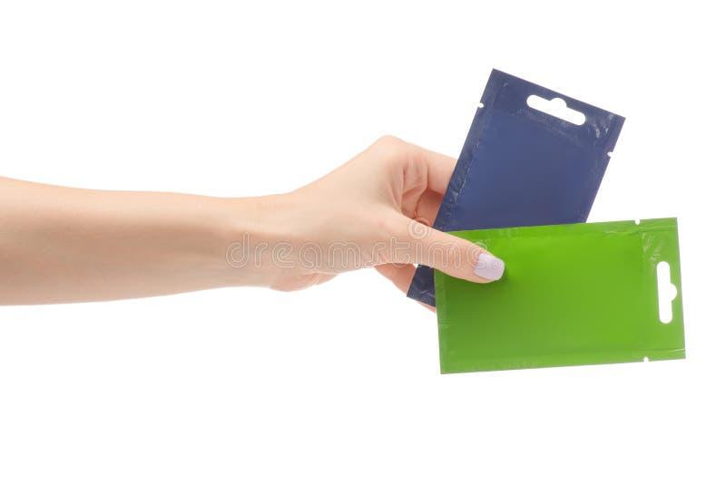 Mascarilla femenina de la bolsita de la mano imagen de archivo libre de regalías