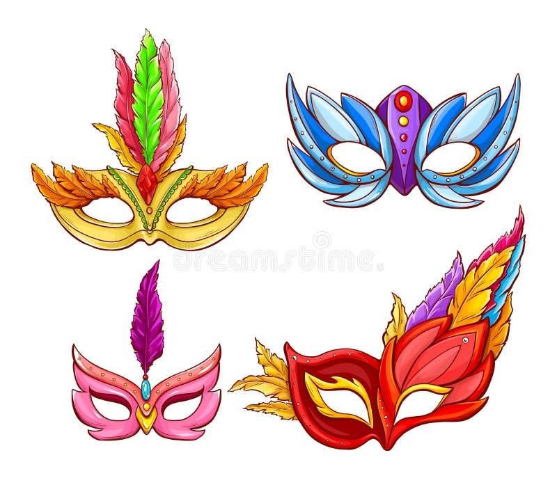 Mascarillas brillantes del vector para los carnavales venecianos ilustración del vector