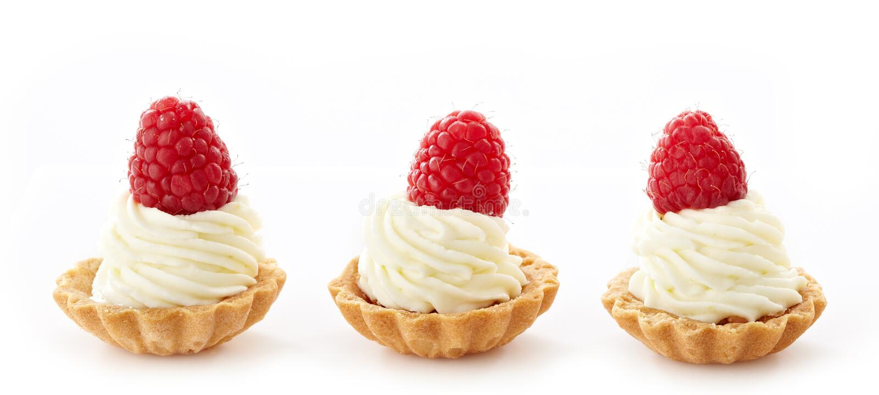 Mascarpone cupcakes with raspberries stock photo