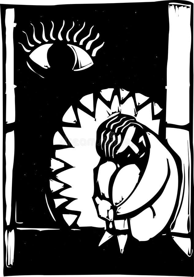 Mascelle della depressione illustrazione di stock
