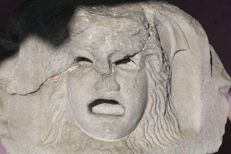 Maschera antica in pietra immagine stock libera da diritti