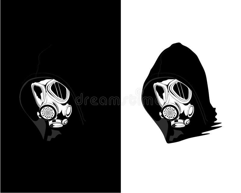 Maschera antigas d'uso dell'artista della via Inquinamento atmosferico - L'archivio di vettore illustrazione vettoriale