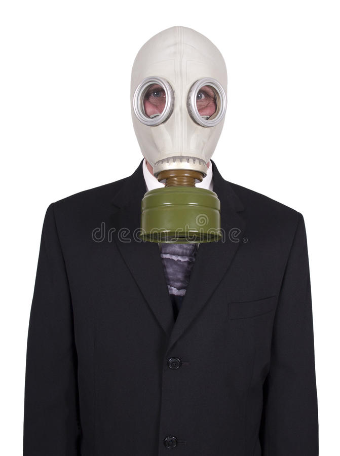 Maschera antigas da portare dell'uomo d'affari immagini stock