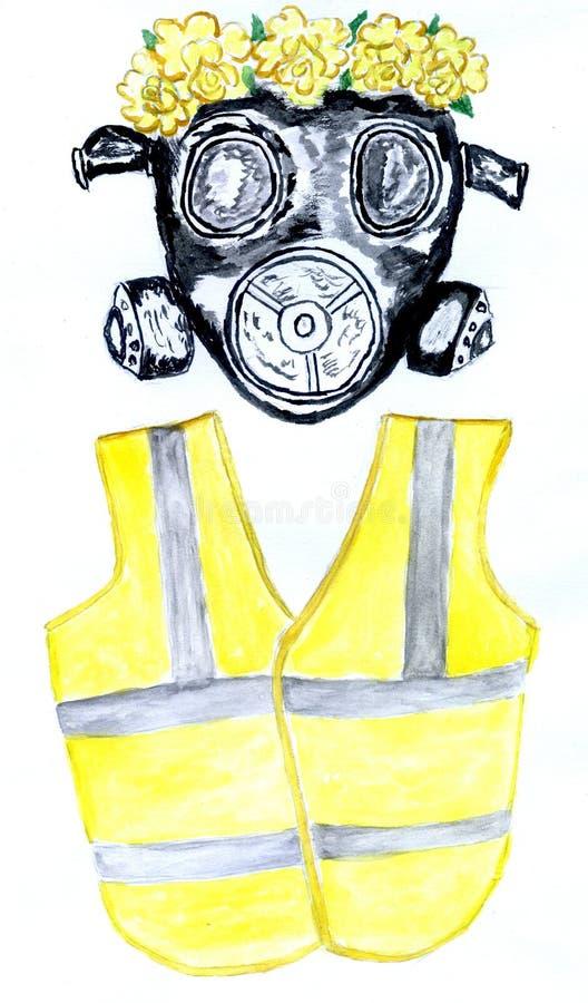 Maschera antigas e maglia gialla illustrazione vettoriale