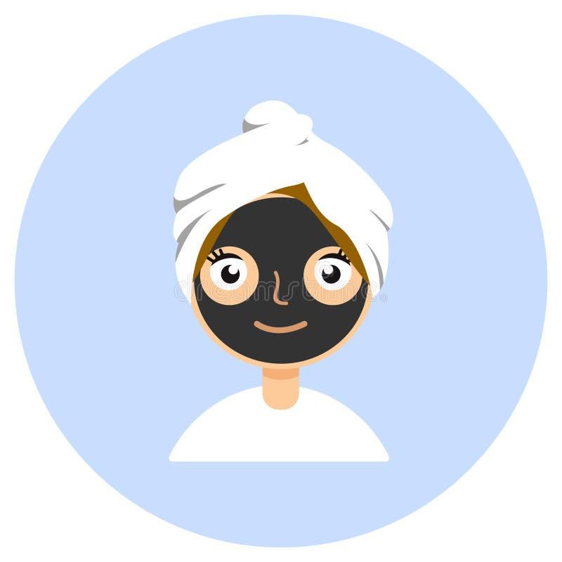 Maschera cosmetica nera su un fronte della donna s Il concetto dei trattamenti di bellezza, della cura di pelle e di pulizia Isol illustrazione vettoriale