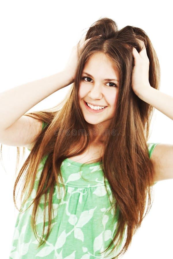 Maschera del brunette bello con capelli lunghi fotografia stock libera da diritti