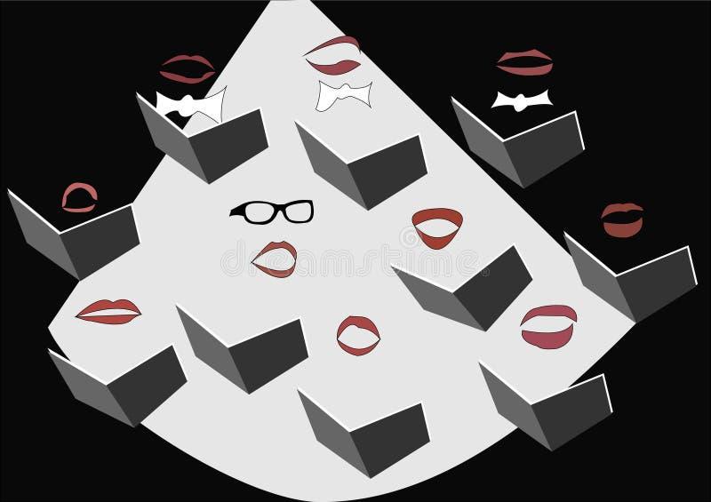 Maschera del coro di canto di divertimento royalty illustrazione gratis