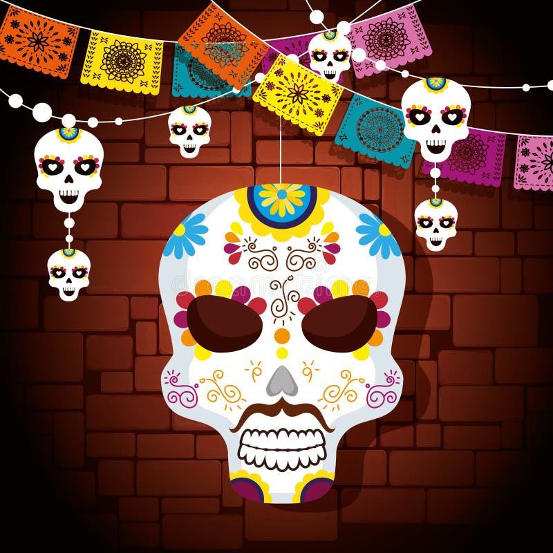 Maschera del cranio con la decorazione dell'insegna del partito illustrazione di stock