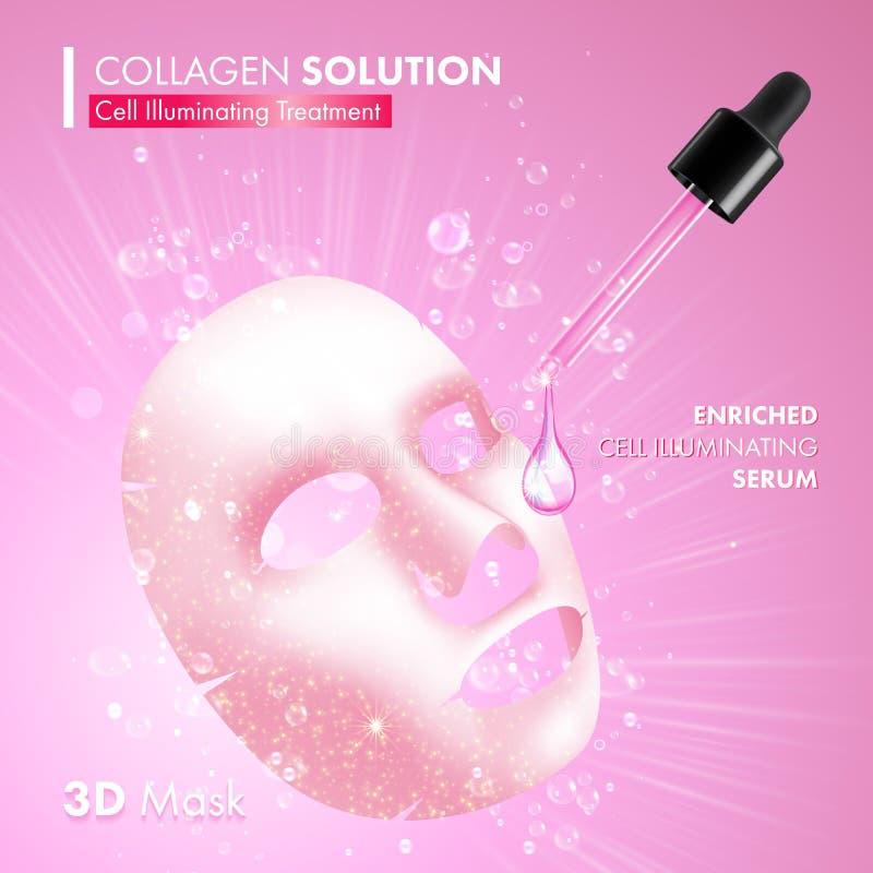 Maschera del facial del collagene Siero d'idratazione illustrazione vettoriale