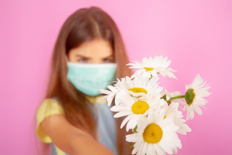 Maschera del fiore di allergia fotografie stock