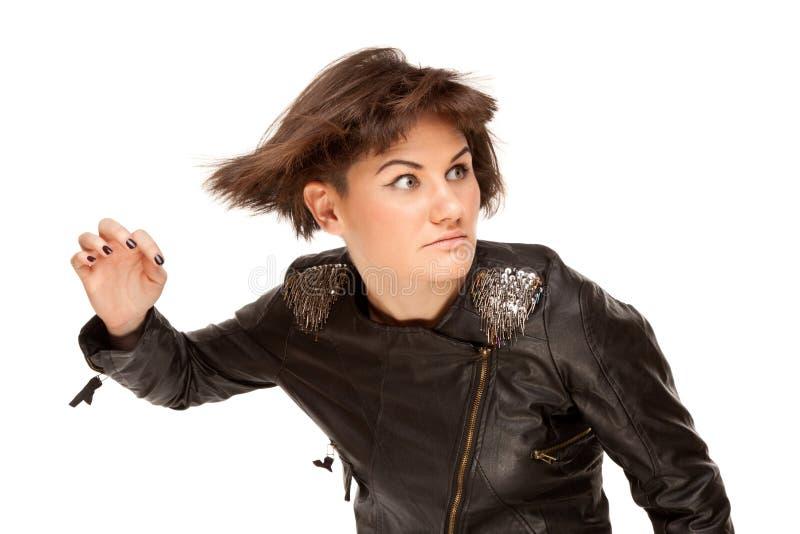 Maschera della donna alla moda con capelli d'ondeggiamento immagine stock libera da diritti