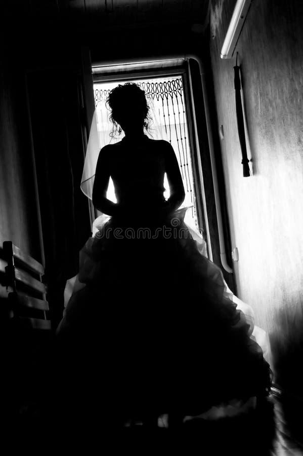Maschera della siluetta della sposa fotografie stock libere da diritti