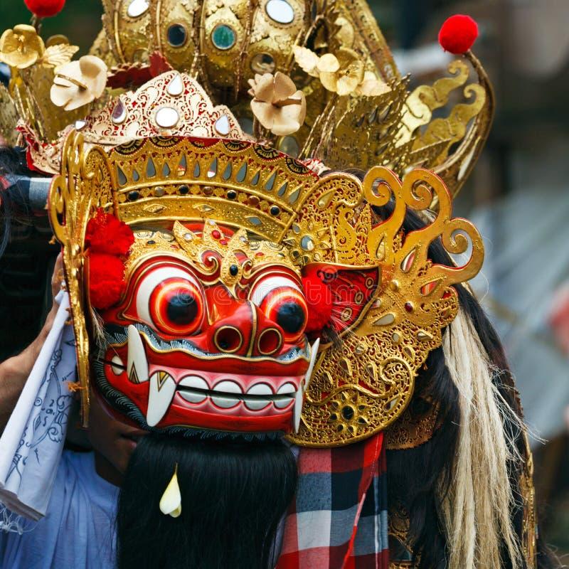 Maschera di ballo di Barong del leone, Indonesia fotografia stock