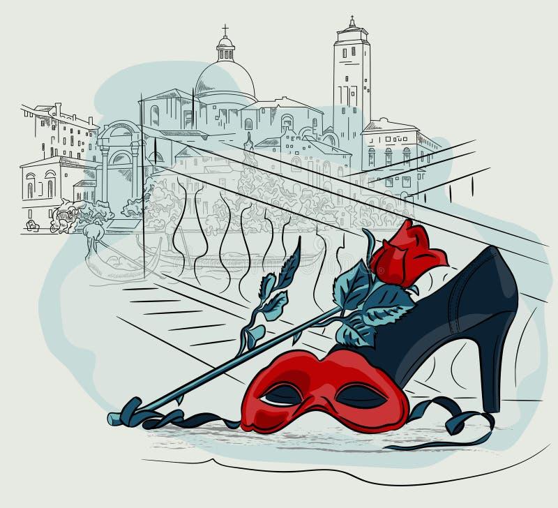 Maschera di carnevale con un fiore della rosa contro lo sfondo delle case di Venezia Vettore che disegna illustrazione a mano lib illustrazione vettoriale