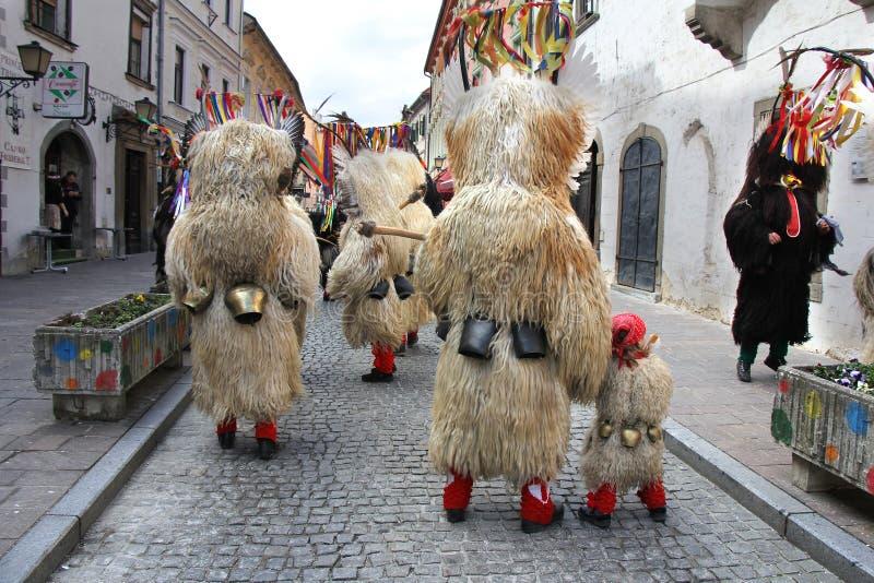 Maschera di carnevale dei kurents di Ptuj fotografia stock libera da diritti