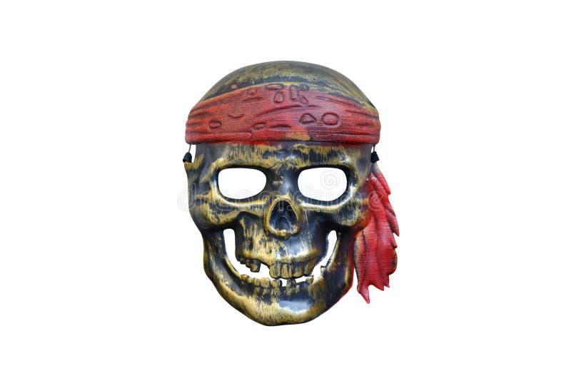Maschera di carnevale del pirata, cranio isolato su fondo bianco fotografia stock libera da diritti