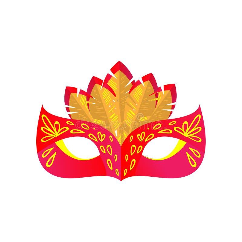 Maschera di carnevale di mistero di colore rosso con l'ornamento giallo di colore royalty illustrazione gratis