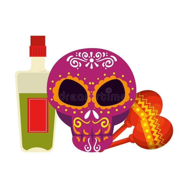 Maschera di giorno della morte con la bottiglia ed i maracas di tequila illustrazione di stock