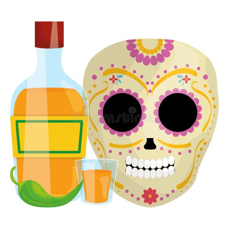 Maschera di morte messicana del cranio con la bottiglia di tequila royalty illustrazione gratis