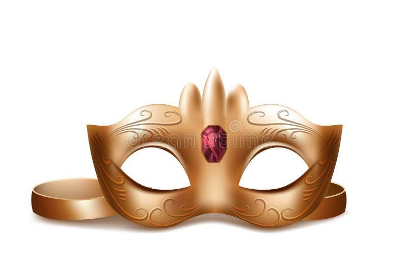 Maschera di protezione veneziana di vettore con la gemma rossa royalty illustrazione gratis