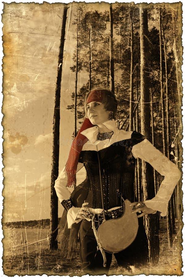 Maschera di seppia con i bordi bruciati (serie della ragazza del pirata) fotografie stock libere da diritti