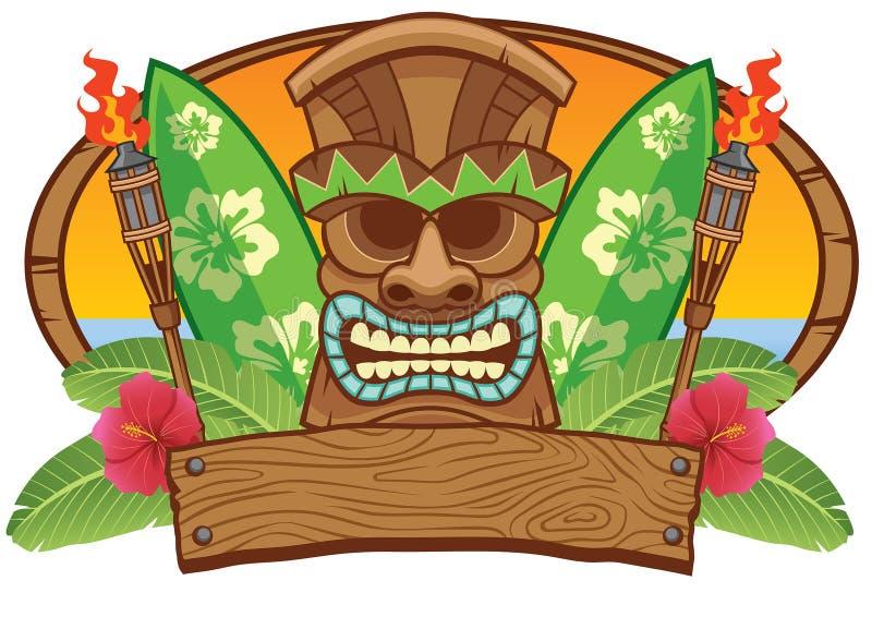 Maschera di Tiki con il bordo praticante il surfing illustrazione vettoriale