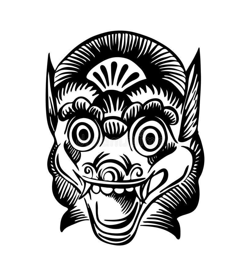 Maschera disegnata a mano di vettore di Barong Immagine rituale tradizionale del disegno nero dell'inchiostro isolata su fondo bi illustrazione vettoriale
