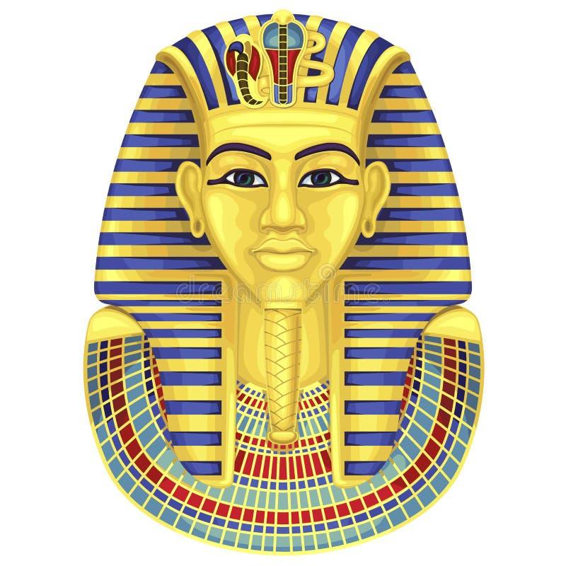 Maschera dorata egiziana dei pharaohs pharaoh illustrazione di stock