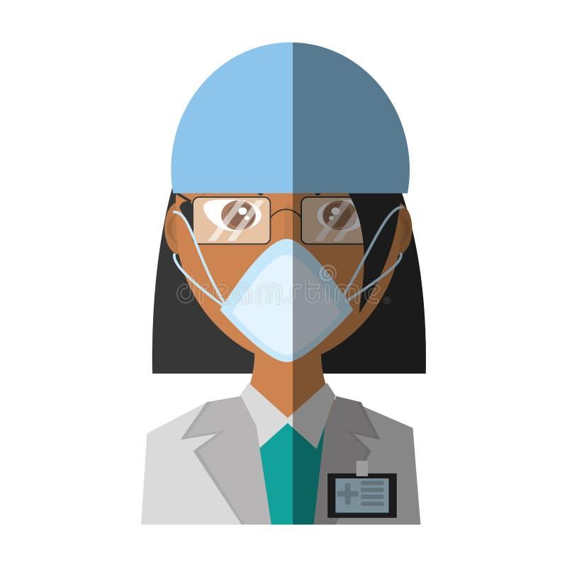 maschera femminile di medico medica illustrazione di stock