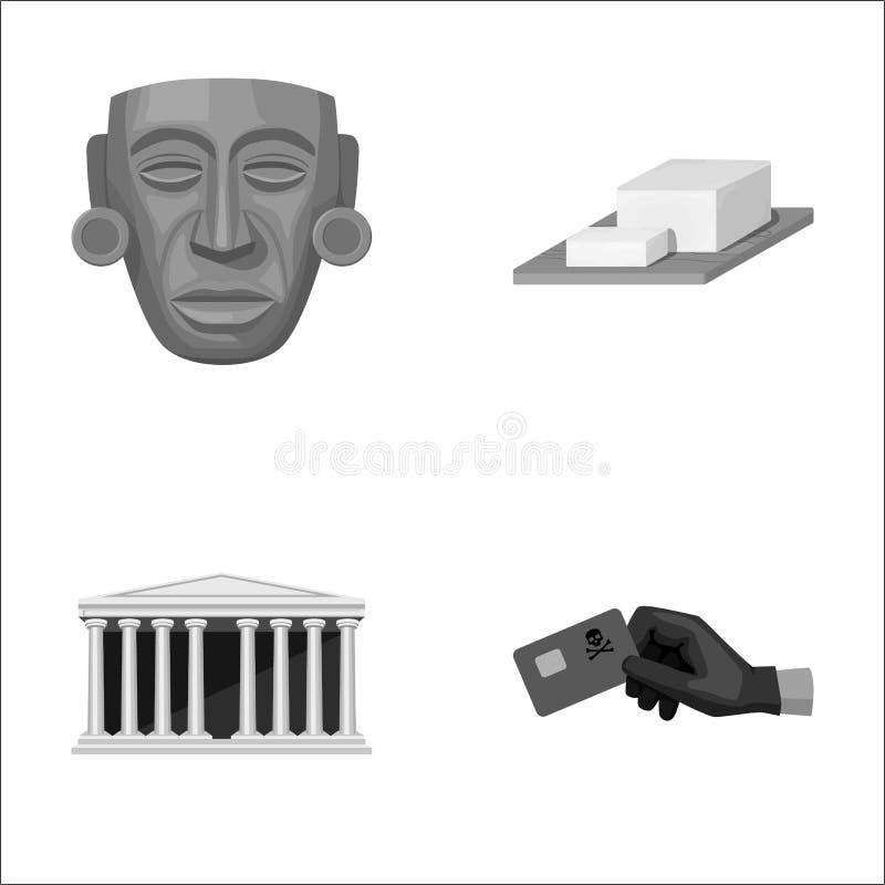 Maschera, formaggio e l'altra icona monocromatica nello stile del fumetto costruzione, icone della carta di credito nella raccolt illustrazione vettoriale