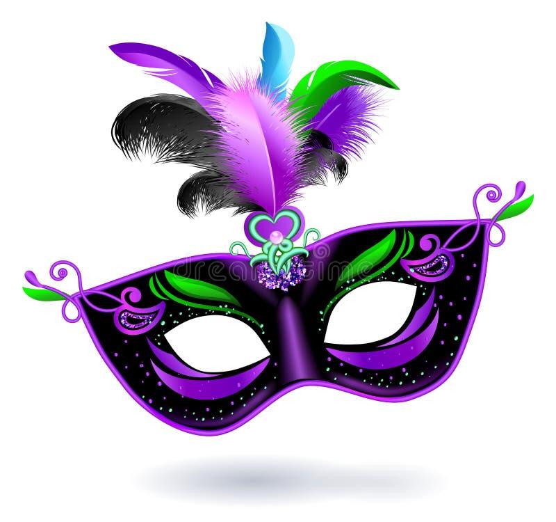 Maschera nera di carnevale con le piume blu rosa viola su fondo bianco Insegna di carnevale Scheda di vettore Mardi Gras Banner illustrazione di stock