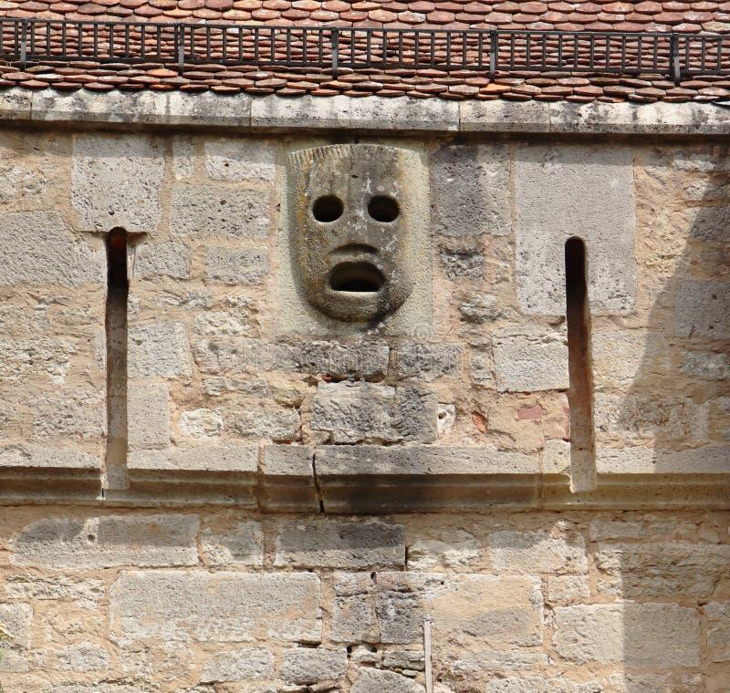 Maschera ottenuta del passo sul Burgtor in Rothenburg immagine stock libera da diritti