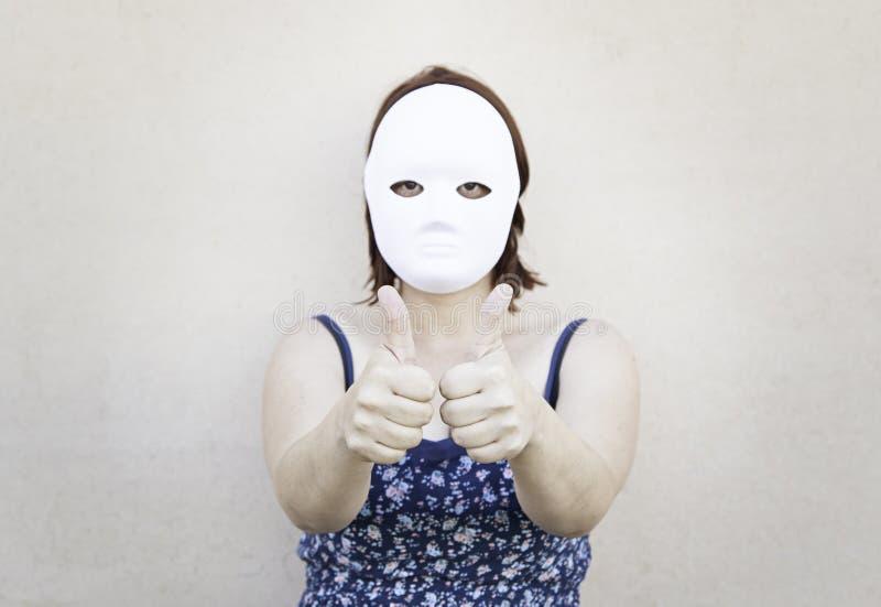 Maschera ottimista della ragazza fotografie stock