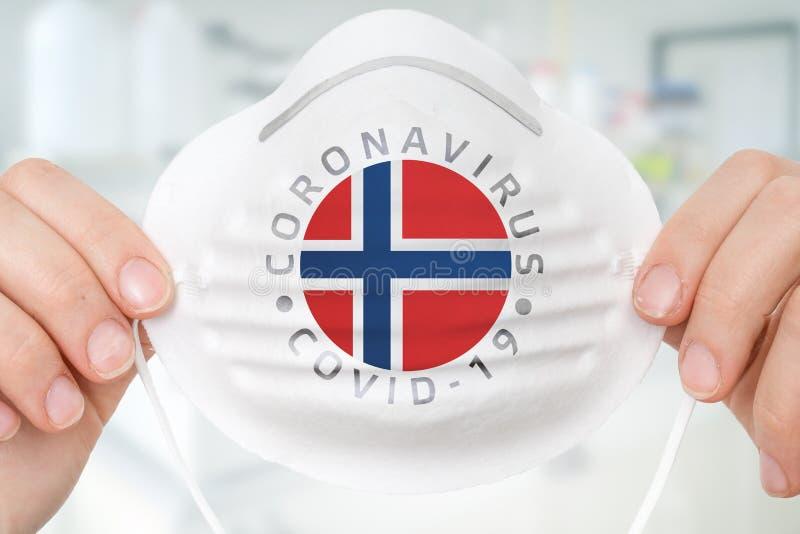 Maschera respiratrice con bandiera norvegese - Conce Coronavirus COVID-19 fotografia stock
