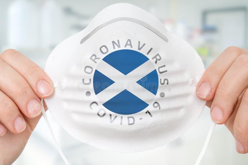 Maschera respiratrice con bandiera scozzese - Coronavirus COVID-19 con immagine stock libera da diritti