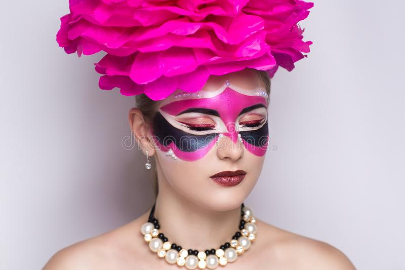 Maschera rosa di carnevale fotografia stock