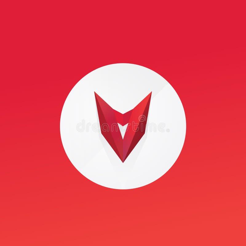 Maschera rossa, testa Logo piano di vettore Segno isolato su fondo bianco Template corporativo per le illustrazioni di affari emb royalty illustrazione gratis