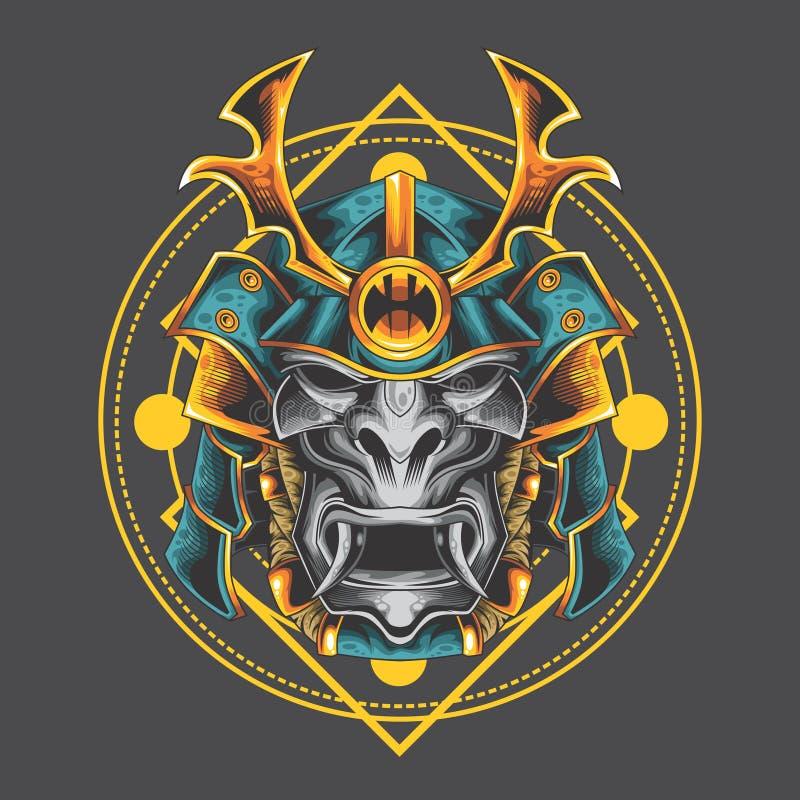 Maschera santa del samurai illustrazione di stock