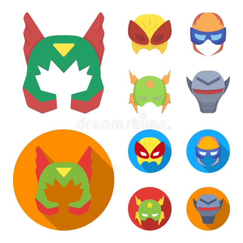 Maschera sulla testa, casco Icone stabilite della raccolta dell'eroe eccellente della maschera nel fumetto, web piano dell'illust illustrazione vettoriale